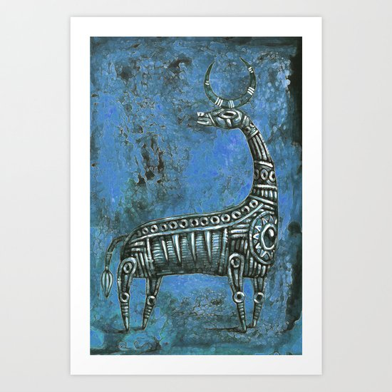 Antelope in Blue Art Print