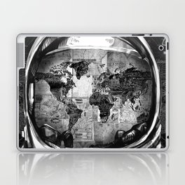 astronaut world map black and white 2 Laptop & iPad Skin