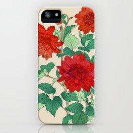 Red dahlias iPhone Case