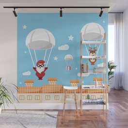 Santa Claus and reindeer parachutists delivering presents Wall Mural