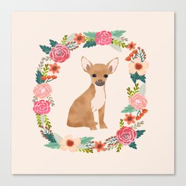 chihuahua floral wreath flowers dog breed gifts Canvas Print