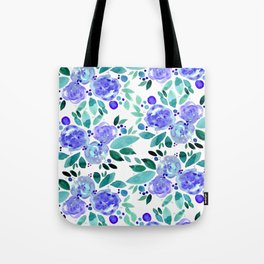 Abstract watercolor roses - blue and green Tote Bag