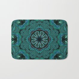 Blue and Turquoise Fractal Kaleidoscope Bath Mat