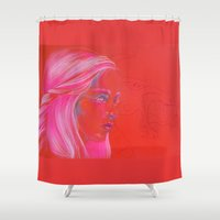 mother of dragons Shower Curtains featuring Mother of Dragons by Erin Garey