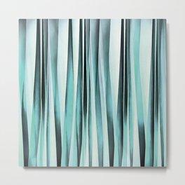 Cyan Blue Ocean Stripey Lines Pattern Metal Print