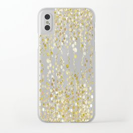 golden string of pearls watercolor Clear iPhone Case
