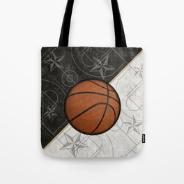 Basketball Stars and Court Team Sports Design Tote Bag