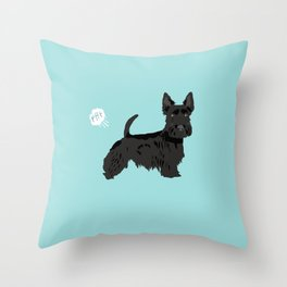 scottish terrier scotties funny farting dog breed pure breed pet gifts Throw Pillow