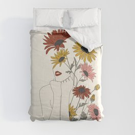 Colorful Thoughts Minimal Line Girl with Sunflowers Comforters