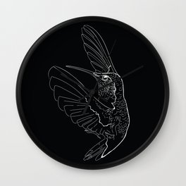 Hummingbird illustration on black background Wall Clock