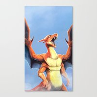 charizard Canvas Prints featuring Charizard    by Default Pixel