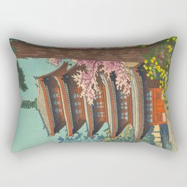 Asano Takeji Spring in Daigoji Temple Vintage Japanese Woodblock Print Detailed East Asian Art Rectangular Pillow