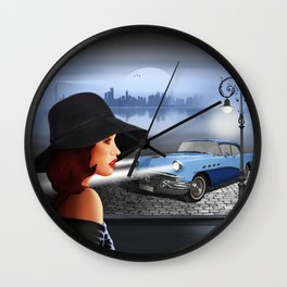 The beauty at night with vintage car Wall Clock