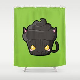 Spooky Cupcake - Black Cat Shower Curtain