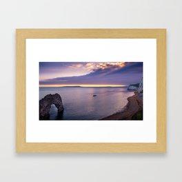 Sunset At Durdle Door Framed Art Print