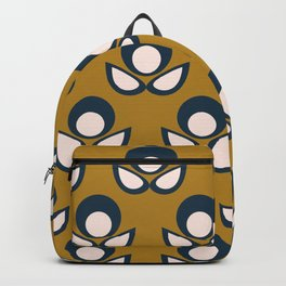 Bubble Flower Retro Pattern in Golden Mustard, Navy Blue, and Pale Blush Pink Backpack