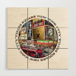 Times Square New York City (badge emblem on white) Wood Wall Art
