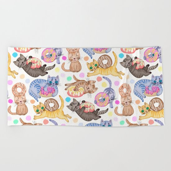 Sprinkles on Donuts and Whiskers on Kittens Beach Towel
