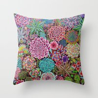 succulents Throw Pillows featuring Succulents by gwolly