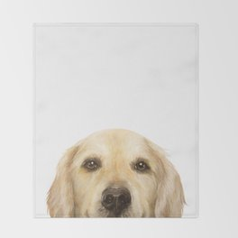 Golden retriever Dog illustration original painting print Throw Blanket
