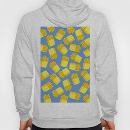 French Fries Pattern Wall Decor Home Art Print Cartoon Poster Yellow Blue Pattern Decoration Hoody