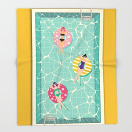 At The Pool Throw Blanket