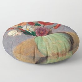 "Odilon Redon ""Flowers in a Green Vase (Fleurs Dans Un Vase Vert)"" Floor Pillow"