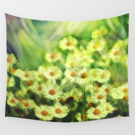 """""""Spring of daisies, green and sunlight"""" Wall Tapestry"""