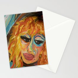 Fashionista in Coral and Blue Stationery Cards
