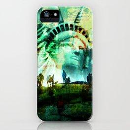 Tourist Destination - Statue of Liberty - Newspaper Style iPhone Case