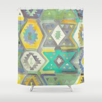 kilim Shower Curtains featuring Kilim Me Softly in Turquoise by Bee&Lotus