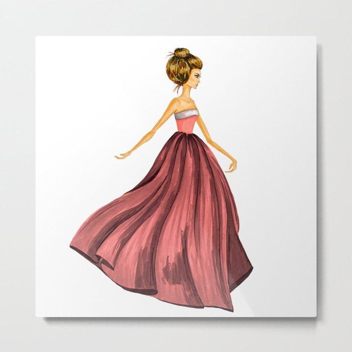 GIRL - Lady In Red - BLONDE - watercolor Metal Print