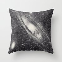 astronomy Throw Pillows featuring Vintage Astronomy-Nebula M31 Andromeda by lacelace