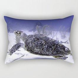 Swimming Hawksbill Turtle Rectangular Pillow