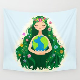 Beautiful Flowing Flower Earth Mother Figure Wall Tapestry