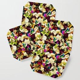 hummingbird paradise ethereal autumn flower pattern std Coaster