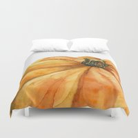 pumpkin Duvet Covers featuring Pumpkin by Cindy Lou Bailey