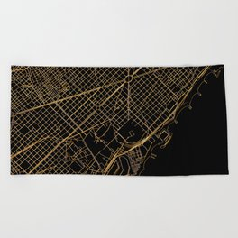 Black and gold Barcelona map Beach Towel