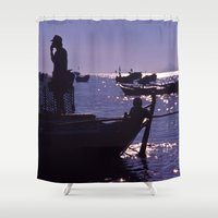 vietnam Shower Curtains featuring Sunset - Fishermen - Vietnam by CAPTAINSILVA