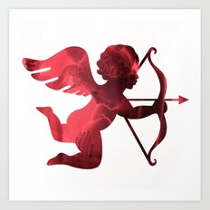 Cupid With Arrow, Eros and Psyche, Cupid Valentine Print, Valentine's Day Red Cupid Home Decor Art Print