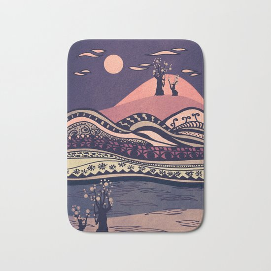 Psychedelic mountains (colour option) Bath Mat