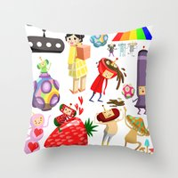 katamari Throw Pillows featuring Katamari Characters by Lil' UFO!