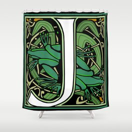 Celt Nouveau Frog Letter J 2018 Shower Curtain