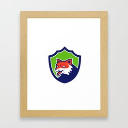Red Fox Head Growling Shield Retro Framed Art Print