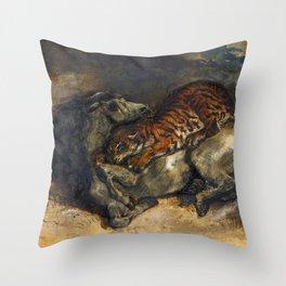 """Eugène Delacroix """"Tigre attaquant un cheval"""" Throw Pillow"""