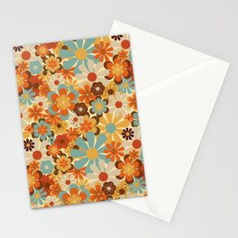 70's Retro Floral Patterned Prints Stationery Cards