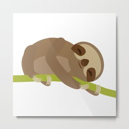 funny and cute Three-toed sloth on green branch Metal Print