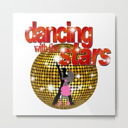 Dancing with the Stars Disco ball Dancers silhouette 2 Metal Print