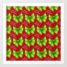 Merry Christmas Bows Art Print