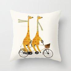 lets tandem giraffes Throw Pillow